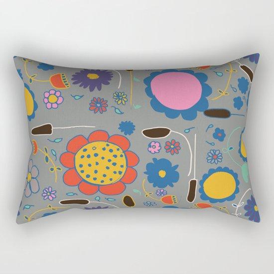 Blossom #3 gray Rectangular Pillow