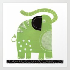 HAPPY GREEN ELEPHANT Art Print
