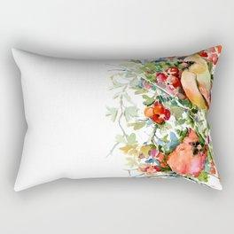 Cardinal Birds and Hawthorn Rectangular Pillow