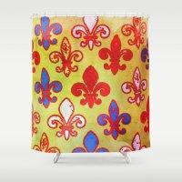 fleur de lis Shower Curtains featuring Fleur de lis #4 by Camille