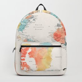 """Explore"" - Colorful watercolor world map with cities Backpack"