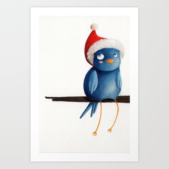 Christmas Bird Art Print
