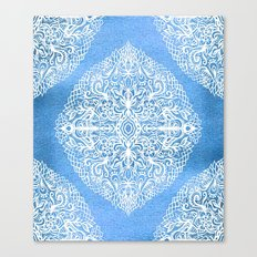 White Gouache Doodle on Pearly Blue Paint Canvas Print