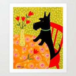 Scottie Dog and Tulips Art Print