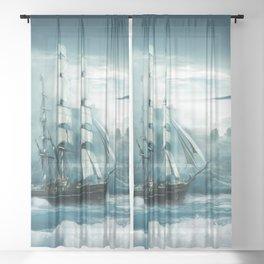 Blue Ocean Ship Storm Clouds Sheer Curtain