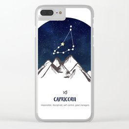Astrology Capricorn Zodiac Horoscope Constellation Star Sign Watercolor Poster Wall Art Clear iPhone Case