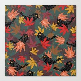 Autumn Blackbirds Canvas Print