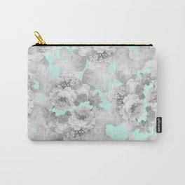 Vintage black white teal stylish chic roses floral Carry-All Pouch