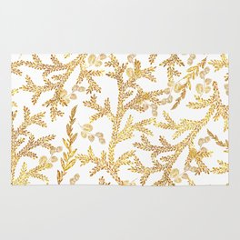 Modern faux gold glitter white elegant floral pattern Rug