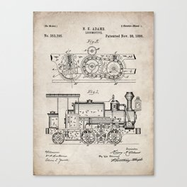 Steam Train Patent - Steam Locomotive Art - Antique Canvas Print