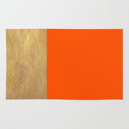 Color Blocked Gold & Poppy Rug
