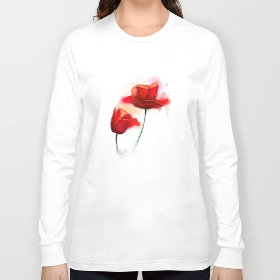 Red Poppy watercolor painting Long Sleeve T-shirt