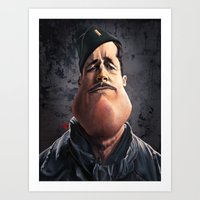 "brad pitt Art Prints featuring Brad ""Aldo Raine"" Pitt by Khasis Lieb"