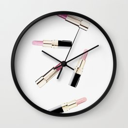 Fashion print, Lipstick, Make up, Fashion art, Photo, Minimal Wall Clock