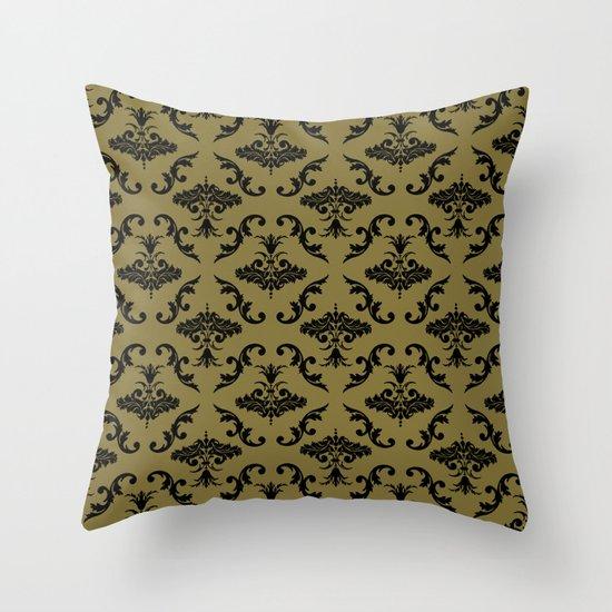 Gold Damask Throw Pillow