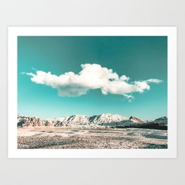 Vintage Desert Snow Cloud // Scenic Desert Landscape in Winter Fluffy Clouds Snow Mountains Cacti Art Print