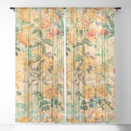 Vintage & Shabby Chic -  Sunny Gold Botanical Flowers Summer Day Sheer Curtain