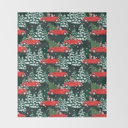 Dachshund Winter Car Racing in Forest Throw Blanket