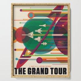 NASA Retro Space Travel Poster The Grand Tour Serving Tray