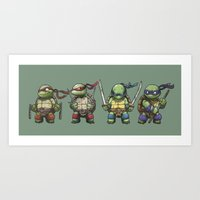 tmnt Art Prints featuring TMNT by jeremiah cortez