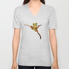 Cute Green Tree Frog Playing an Old Acoustic Guitar Unisex V-Neck