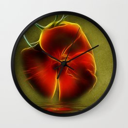 Reflection in Red Wall Clock