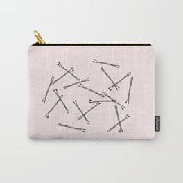 Bobby Pins Art Print, Pink Black, Vanity Art Carry-All Pouch