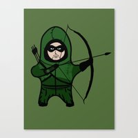 green arrow Canvas Prints featuring Green Arrow by YiannisTees