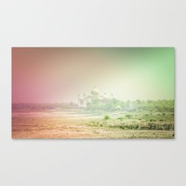Colors of Dreamy Taj Mahal in the Morning Mist Behind the Yamuna River Canvas Print