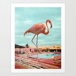 Flamingo on holiday Art Print