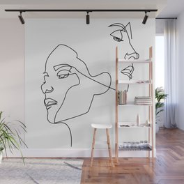 Line art, Line Art Abstract,  Continuous Line, Drawing of Set Faces And Hairstyle, Line art Wall Mural