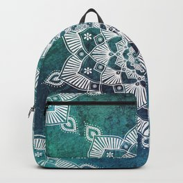 Aqua Spirit Mandala Turquoise Blue Green White Backpack