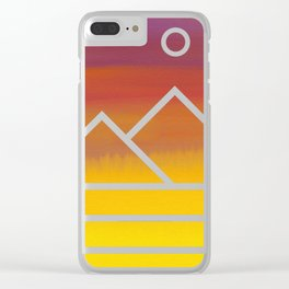 Minimalistic Watercolor Sunset Clear iPhone Case