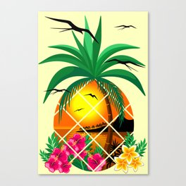 Pineapple Tropical Sunset, Palm Tree and Flowers Canvas Print