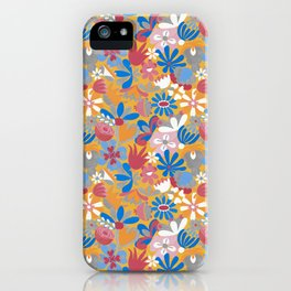 Yellow Flower Meadow– Blue Bell – Scandinavian Folk Art iPhone Case