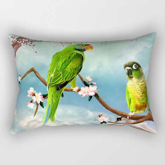 Wonderful, cute parrots Rectangular Pillow