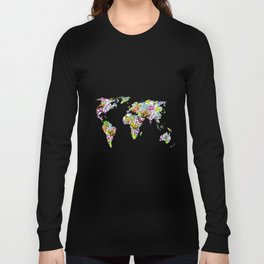 flowers in the world map . artwork Long Sleeve T-shirt