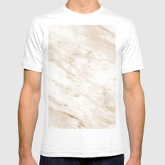Marchionne warm caramel marble Mens Fitted Tee MEDIUM White
