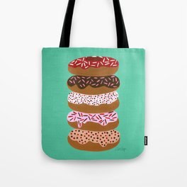 Stacked Donuts on Mint Tote Bag