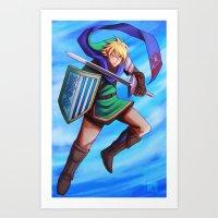 hyrule Art Prints featuring Hyrule Warrior by Kawo