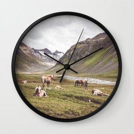 Tyrolean Haflinger horses I Wall Clock