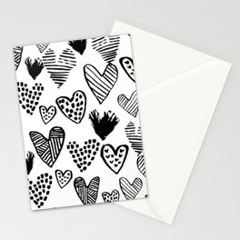 Hearts black and white hand drawn minimal love valentines day pattern gifts decor Stationery Cards