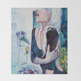 In Her Garden Throw Blanket