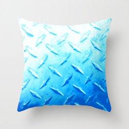 Bright Blue Industrial Metal Sheeting Digital Photo Edited Throw Pillow