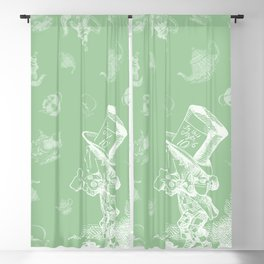 Mad Hatter and Teapots Blackout Curtain