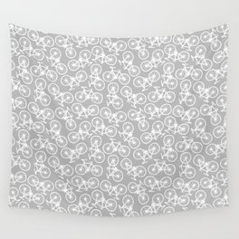 Bicycles on Grey Wall Tapestry