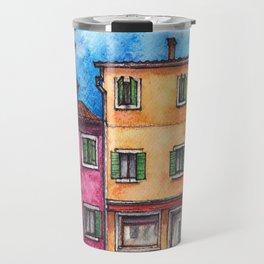 Burano ink & watercolor illustration Travel Mug
