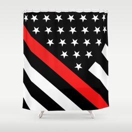 Firefighter: Black Flag & Red Line Shower Curtain