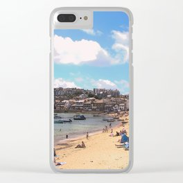 British Beach scene illustration, St Ives, English holiday resort Clear iPhone Case