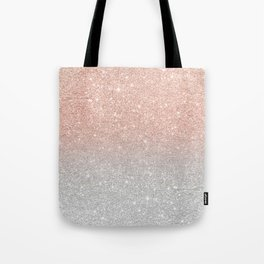 Modern trendy rose gold glitter ombre silver glitter Tote Bag